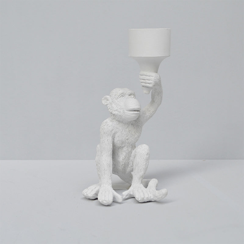 Monkey Candle Holder - White