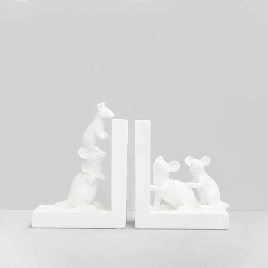 Mouse Bookends - White