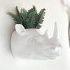 Wall Mounted Rhino Head Planter. White resin faux animal head for the wall decor sculpture