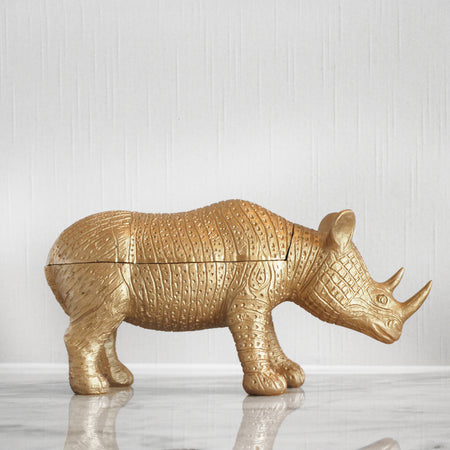 gold rhino home decor box made from resin. Trinket box in animal style