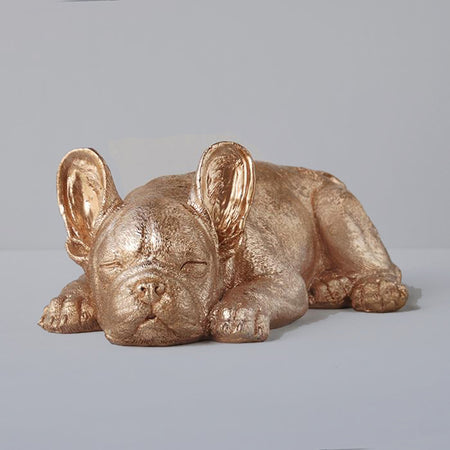 Gold sleeping frenchie, Signature resin white moose animal