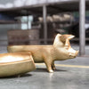 Gold resin pig decor piece by White Moose. Secret hiding bowl under back.