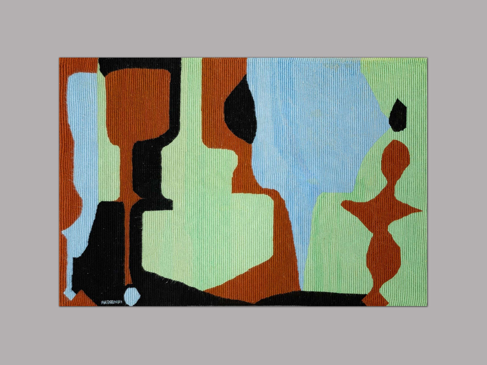 Tapisserie murale puriste par Philippe Bernard, France (vers 1955)..Purist wall tapestry by Philippe Bernard, France (circa 1955)