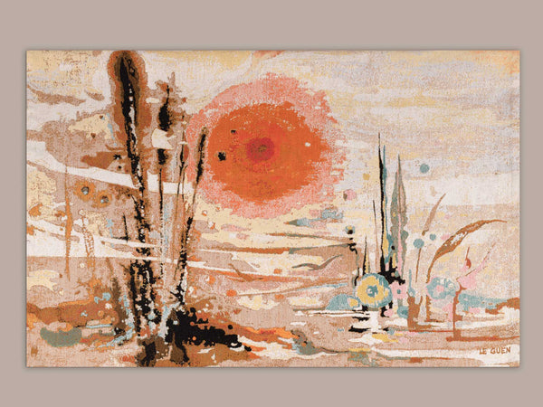 "Tapisserie ""Soleil d'or"" de Thérèse Le Guen pour Robert Four à Aubusson, France (vers 1965)..Wall tapestry ""soleil d'or"" by Thérèse Le Guen for Robert Four at Aubusson, France (circa 1965)"