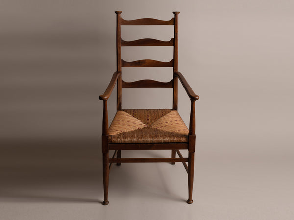 Fauteuil Arts & Crafts E.G. Punnett pour William Birch, Angleterre (vers 1890)..E.G. Punnett Arts & Crafts Armchair for William Birch, England (circa 1890)
