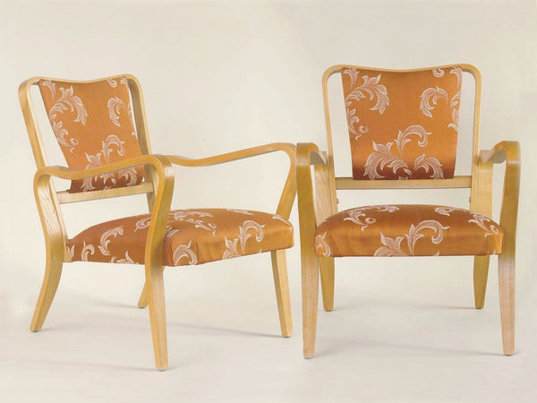 Rare paire de fauteuils Linden par G.A. Jenkins pour Thonet & Packet Furniture, Royaume-Uni (vers 1948)..Rare plywood Linden armchairs by G.A. Jenkins for Thonet & Packet Furniture, set of 2, United Kingdom (circa 1948)