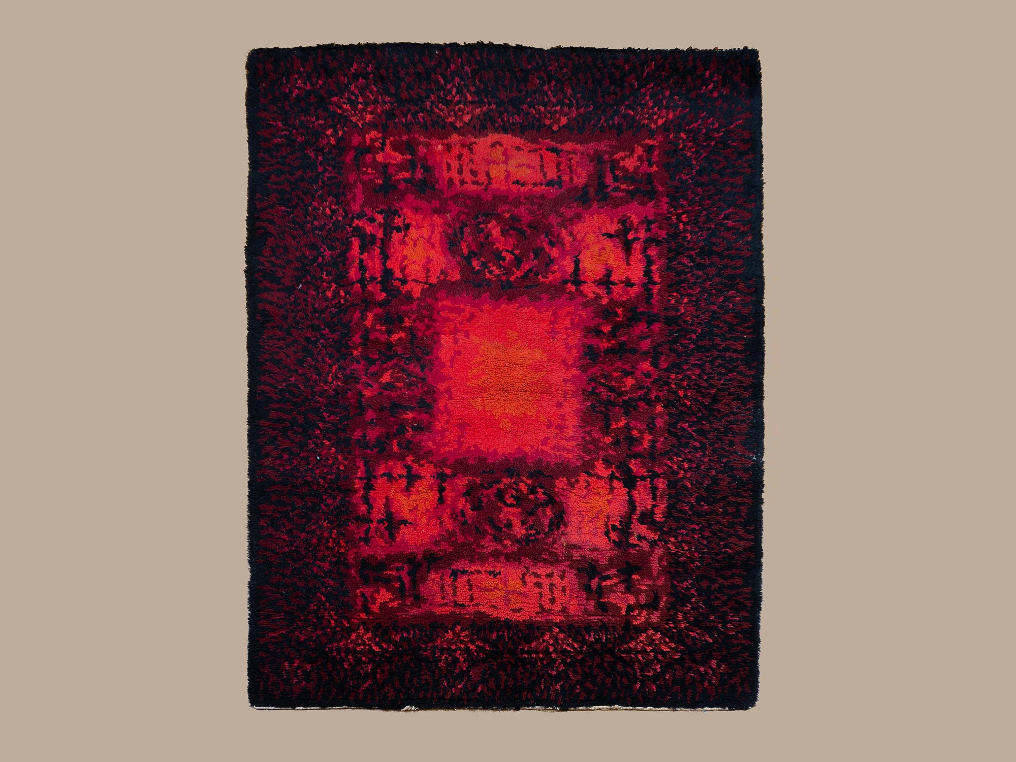 Tapisserie / Tapis Ryijy en laine, Finlande (vers 1960)..Ryijy rug / wall tapestry, Finland (ca. 1960)