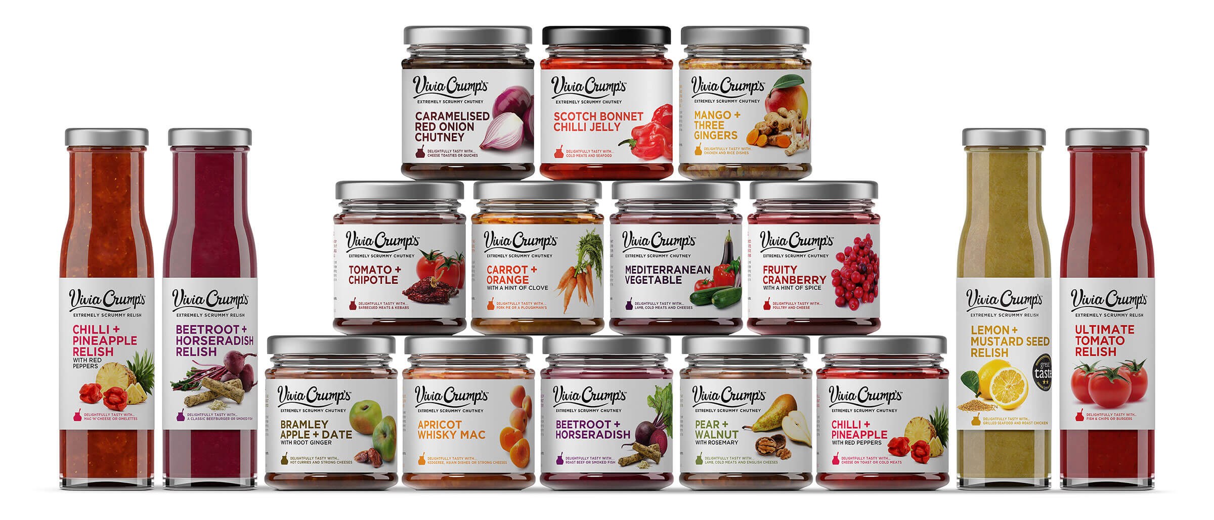 Full range of relishes and chutneys by Vivia Crumps