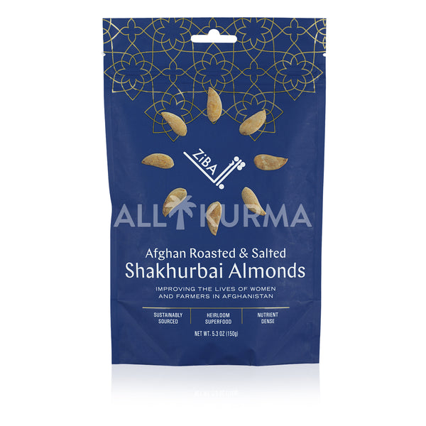 Ziba Foods Afghan Roasted and Salted Shakhurbai Almonds 150 Gram - All Kurma Singapore