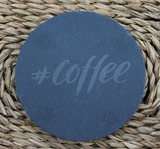 Engraved Coasters - Natural Slate - DESIGN: #COFFEE - Set of 4 - Toccami - 2