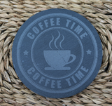 Engraved Coasters - Natural Slate -  DESIGN: COFFEE TIME - Set of 4 - Toccami - 1