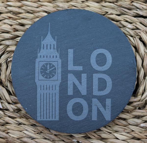 Engraved Coasters - Natural Slate - DESIGN: LONDON - Set of 4 - Toccami - 2