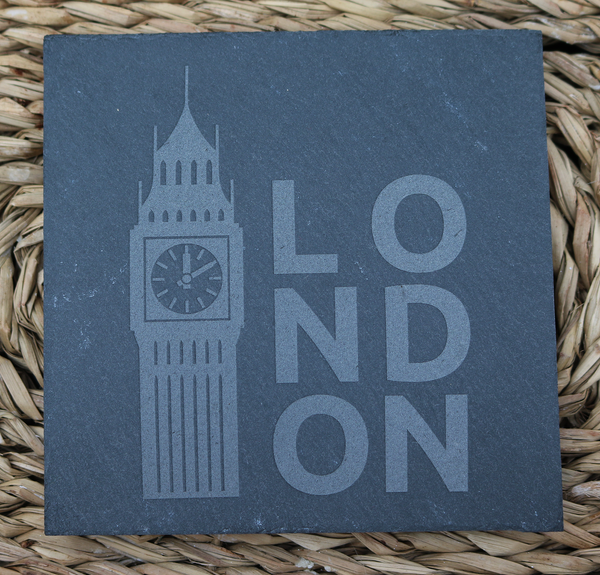 Engraved Coasters - Natural Slate - DESIGN: LONDON - Set of 4 - Toccami - 1