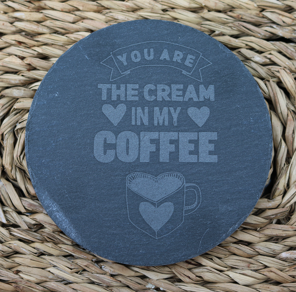 Engraved Coasters - Natural Slate - DESIGN: CREAM  - Set of 4 - Toccami - 1