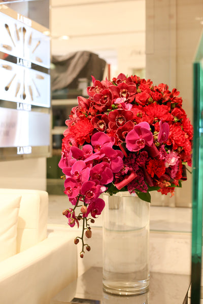 La Mer Floral Display Fresh Flower orchids red chinese new year shop display