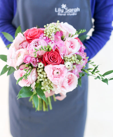 [A10004] Garden bouquet of pink and fuchsia
