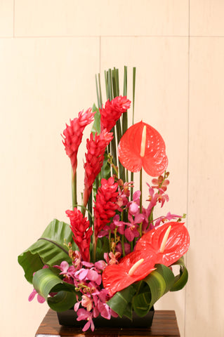 Red and Elegant Floral Arrangements | Office decoration | Corporate Flowers | Reception Centrepiece | Opening Ceremony Basket Elegant Flower Arrangement Florist Flower Shop Floral Arrangement Hong Kong Science Park 花藝 開張花籃 花店 沙田科學園