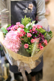 Red spray roses with pink hydrangea bouquet | Lily Sarah Floral Studio | 清新之選 粉紅繡球 小玫瑰 花店 沙田科學園 大埔 北區 送花 Hong Kong Science Park