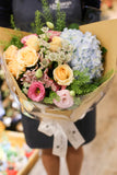 Blue hydrangea and champagne rose bouquet Lily Sarah Floral Studio | 花束 花店 沙田科學園 送花 繡球