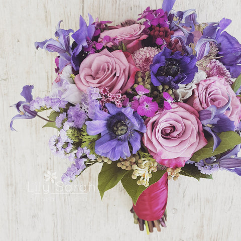 Romantic vintage purple tone bouquet, bridal bouquet, Lily Sarah Floral Studio, Club One Science Park, Shatin Hyatt, 新娘花球, 婚禮