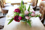 elegant peony silk flower arrangement 絲花新年花藝擺設 牡丹 西式花藝 reception table flower