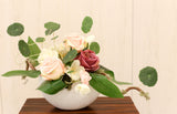 elegant rose silk flower arrangement 絲花新年花藝擺設玫瑰 西式花藝 reception table flower