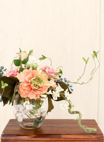 peony and calla lily silk flower arrangement reception 絲花新年花藝擺設 牡丹