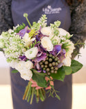 vintage and rustic bridal bouquet with hydrangea, lilac, spray roses |新娘花球 婚禮 花束 shatin hyatt 自然清新 Lily Sarah Floral Studio 沙田科學園