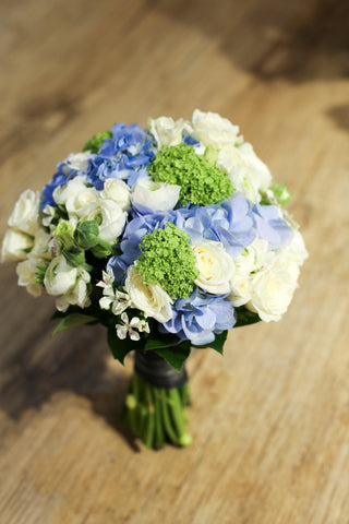 Refreshing blue hydrangea and green bridal bouquet, Lily Sarah Floral Studio, Club One Science Park, Shatin Hyatt, 新娘花球, 婚禮