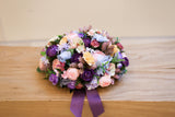 elegant purple and blue silk flower arrangement 絲花花藝擺設 婚禮車花 訂造 西式花藝 wedding car decoration