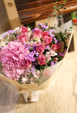 Pink hydrangea and purple rose bouquet | Lily Sarah Floral Studio | 花束 花店 母親節 情人節禮物 沙田科學園 送花 繡球 玫瑰
