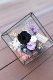 Simply stylish black rose in glass room | Preserved Flower Arrangement Opening basket Grand Opening Gift 保鮮花擺設 開張花籃 禮物 型格