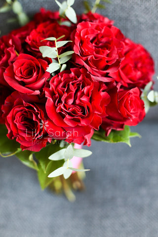 Grand red garden roses bouquet, bridal bouquet, Lily Sarah Floral Studio, Club One Science Park, Shatin Hyatt, 新娘花球, 婚禮
