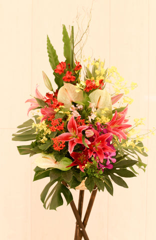 Red lily flower basket for grand opening | 開張花籃 開業花 花店 科學園沙田 鮮花