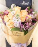 Champagne rose and purple orchid bouquet Lily Sarah Floral Studio | 花束 花店 沙田科學園 送花 玫瑰