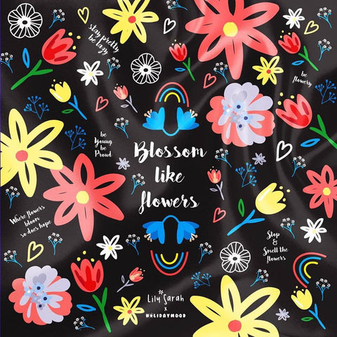 Lily Sarah x Holidaymood Scarf - Blossom Like Flowers (Black)