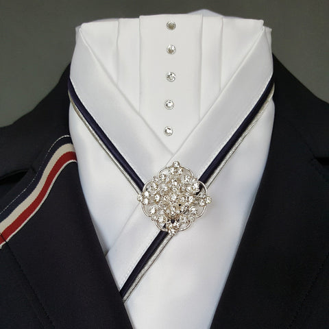 White Pleated Crossover Stock with Navy & Silver Piping