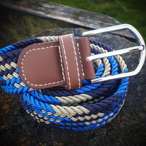 Stretch Woven Belt - Navy, Royal Blue & Taupe