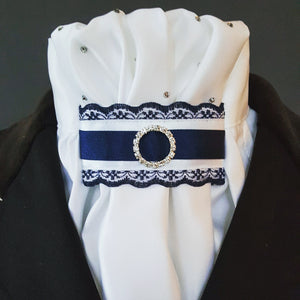 White Gathered Euro Stock with crystals and Navy & White Tab