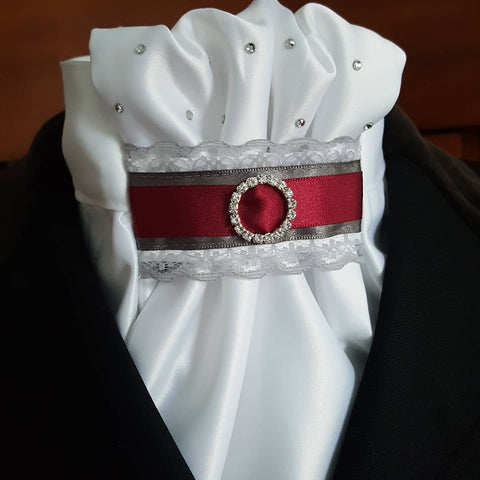 White Euro Stock with Grey Lace, Charcoal & Burgundy Tab and Hand Applied Crystals