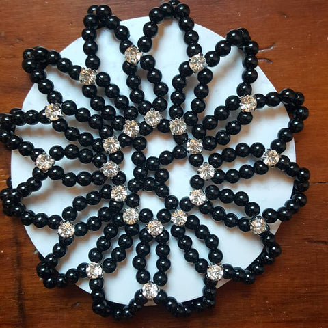 Black Faux Pearl & Diamante Bun Net
