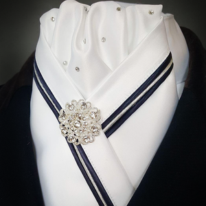 White Crossover Stock with Crystals and Navy & Silver Triple Piping