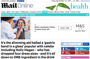 The slimming aid hailed a gastric band in a glass.
