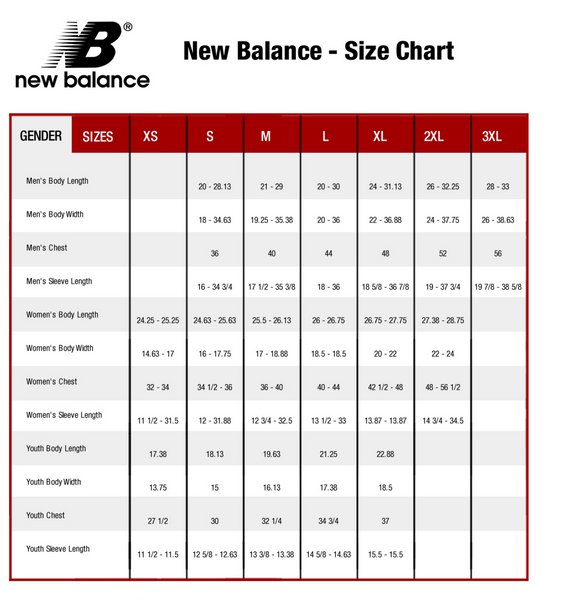 New Balance Apparel Size Chart
