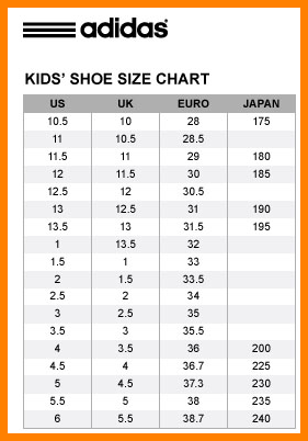 adidas size kid shoes