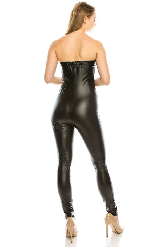 Tube Leather Jumpsuit
