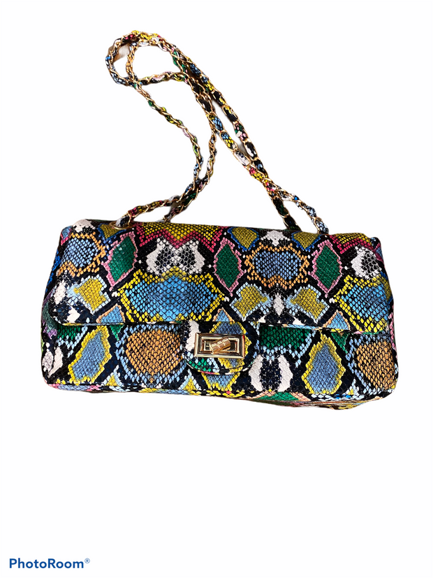 Colorful Snake Print Handbag