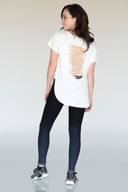 Back Slit Top With Curved Hem