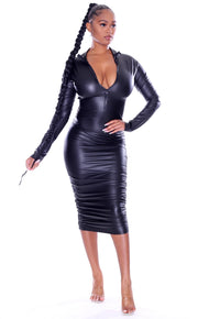 Leather Zip Stacked Dress