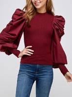 Super Puff Sleeve Top Wine